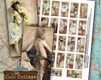Burlesque Digital Collage Sheet Domino Collage Sheet 1x2 Domino Tile Images Shabby Chic Roses Pinup Collage Sheet Printable Images