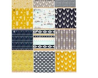 Baby Bedding Boy, Tribal, Southwest, Navy, Mustard, Yellow, Gray, Aztec, Arizona, Quilt, Blanket, Nursery Set, Custom, Crib Sheets