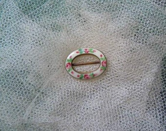 For Antique Doll Tiny 1920's Guilloche Enamelled Brass Buckle