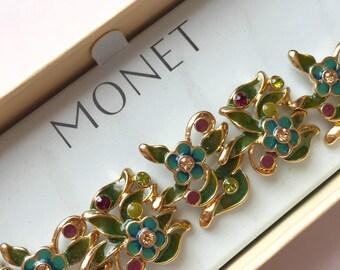 Vintage Monet Enamel and Rhinestone Floral Link Bracelet UNUSED