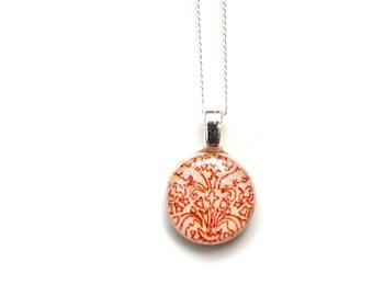 Tiny red damask necklace tiny pendant necklace damask jewelry casual jewelry retro jewelry by starlight woods