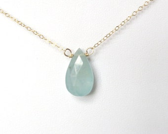 Aquamarine Pendant Necklace in 14k Gold Filled