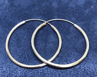 """1.5"""", Sterling silver handmade earrings, solid 925 silver twisted hoops, huggie, stamped 925"""