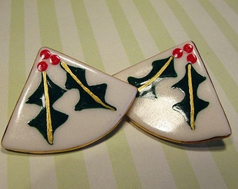Large Holly Porcelain Ceramic Earrings