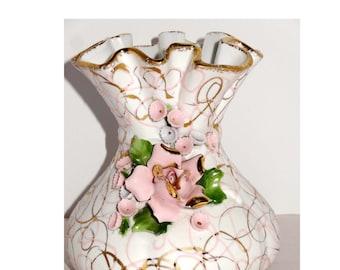 Hand Painted Lefton Ruffled Flower Vase Gold Leaf Pink Roses Motif Home and Garden Decor Vases Flower Vases