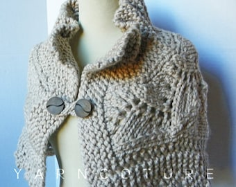 The Lace Capelet / In Oatmeal / Fall Winter Fashion / Luxury Cape - Sweater