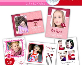 Valentines Custom Photo Cards  WALLET Size - Photographer Templates