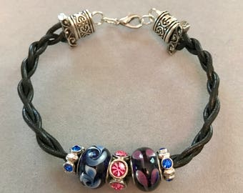 Braided Leather with Glass Beads
