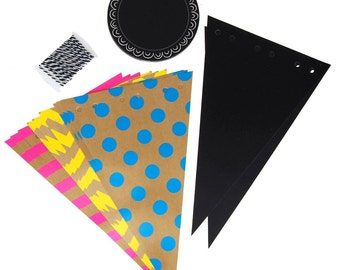Chalkboard Pennants Kit, Birthdays, 11-Inch