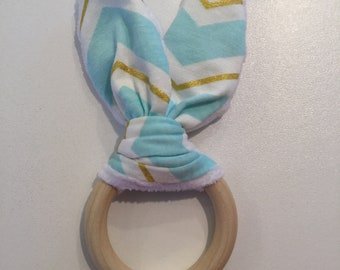 Baby Blue and Gold Chevron Bunny-Ear Teether