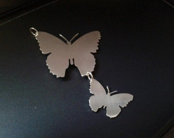 sterling silver double butterfly pendant . 25mm x 20mm handmade 925
