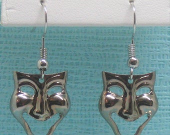 COMEDY face mask pierced earrings Glossy SILVER tone metal LIGHT weight