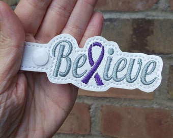 Awareness Ribbon - Purple Awareness Ribbon - Cancer Survivor - Awareness Keychain - ADHD Awareness - Believe Keychain -Fibromyalgia