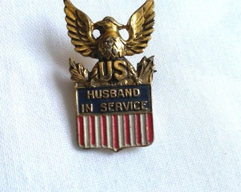Sterling Silver WWII Homefront Pin, Husband in Service, Coro, US Military