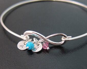 Mothers Bracelet, Infinity, Initials & Birthstones, Mothers Birthstone Bracelet for Mom, Gift for Grandma Birthstone Jewelry for Mom