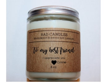 Rad Candles, Soy Candle, Personalized Candle,Best Friends,Special Occasion, Gift, Personalized Gift, Friends