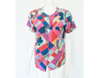 VTG 80s/90s Avant Garde Collage Multi Color Face Photo Print Button Up Top