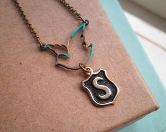 Vintage Initial Letter S Charm Necklace - Personalized Jewelry Gift For Her - Bird Silhouette & Brass Letter S Mini Shield Charm Necklace