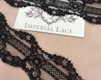 Black lace trim, Solstiss lace, Chantilly Lace Trim, Both sides scalloped, Lace Trimming, bras, panties trim, MM00088