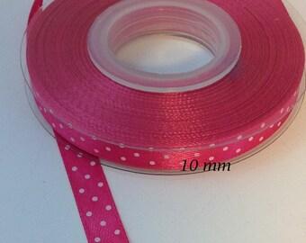 10 mm fuchsia pink shiny dots satin ribbon