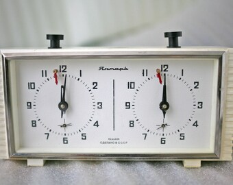 Soviet Chess Clock Working Russian Yantar Chess Tournament Timer 1980s from Russia Soviet Union USSR