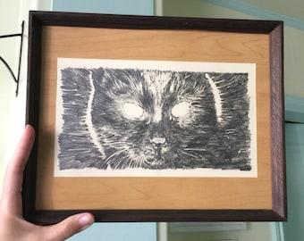 Kuroneko Cat - Original Framed Drawing by Aiyana Udesen