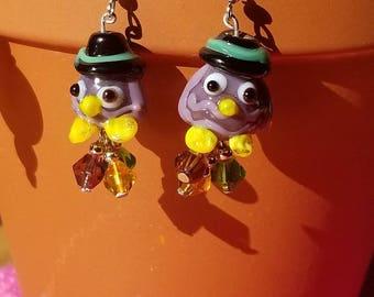 Halloween Witch Owl Earrings