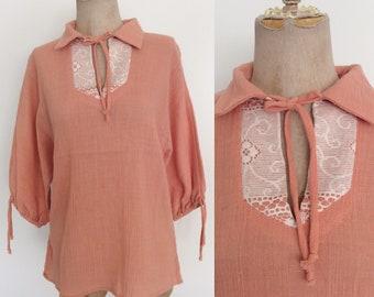 1970's Gauzy Cotton Peach Hippie Top Lace Bust Vintage Blouse Size Small Medium by Maeberry Vintage
