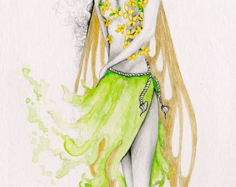Fairy Art Print Gift for Her Fairy Art Drawing Illustration  Print of my Original Pencil Drawing Woodland Fairy Art Print Green Faery Art