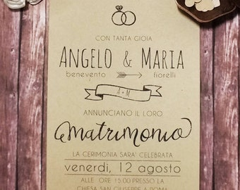 Country Chic style wedding participations, Kraft invitations and participations, personalized wedding Invitations