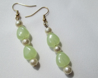 Pale Green and Pale Yellow Glass Earrings