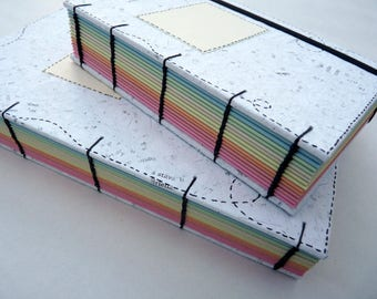 Rainbow, journal, notebook, A5, recycled, coloured pages, elastic