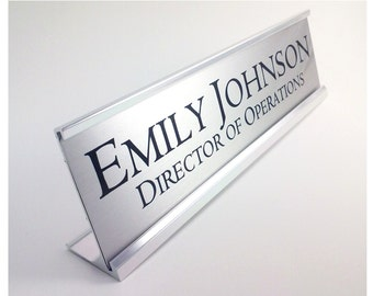 Personalized Desk Name plate nameplate Silver with Silver Aluminum Holder 2 x 8 inches