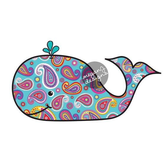 Paisley Whale Car Decal Colorful Beach Bumper Sticker Laptop