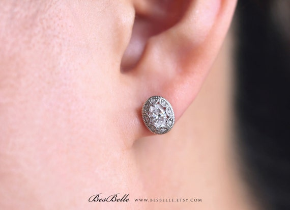 stud art earrings deco diamond