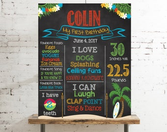 First Birthday Chalkboard -Luau Hawaii Tropical Beach Party Poster Sign, Summer Birthday Pool Party Printable File, Photo Prop #2026