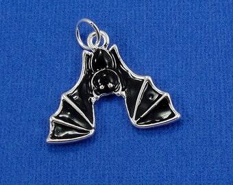 Bat Charm - Silver Plated Hanging Bat Charm for Necklace or Bracelet