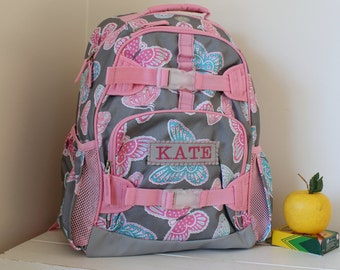 Small Backpack With Monogram (Small Size) -- Gray/Pink Butterfly