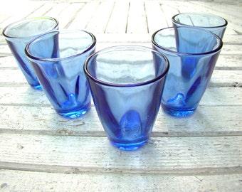 Blue Glass Set of 5 Vintage Drinking Glass Aqua Blue Glassware Cobalt Blue Glass Small Glass Soviet Russian Kitchen Decor Vodka Tumblers