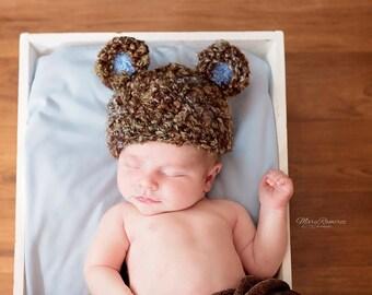 Teddy Bear Hat - Newborn Baby Boy Bear Hat
