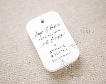 Hugs and Kisses Wedding Favor Tags, Personalized Gift Tags,Bridal Shower,Thank you tags, Custom Gift Tags - Set of 24 (Item code: J698)