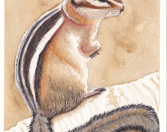 Hand Painted Chipmunk Coffee Watercolor Mixed Media Greeting Card