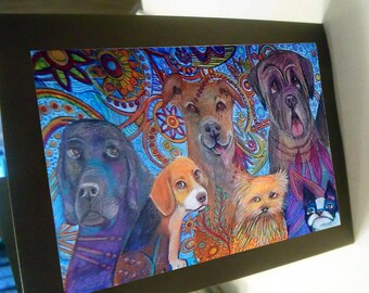 greeting card print of original art-  dog line up 1 Zentangle spirit animal