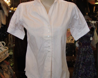 Vintage 1950's White and Pink Tiny Dot Cotton Blouse * NOS *  XS-S
