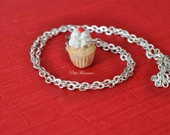 Fimo necklace Whipped Cherry -Jewelry miniature-Jewelry-Handmade Fimo-Bijoux