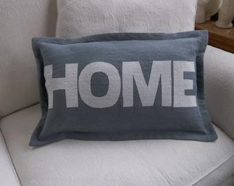 Linen HOME Pillow Linen Lumbar Pillow Word Pillow Linen Pillow Personalized Decorative Pillow Handmade French Country Custon Order 12 x 20