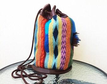 Vintage backpack Woolen backpack Leather backpack Retro mesh bag Woven backpack Womans backpack Girls backpack Female backpack Gift for her