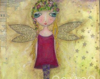 ART PRINT - Willow Mixed Media Whimsical Art Fairy Print A4 size Free local Postage