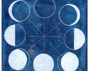 Moon Phase Chart Print. Moon Chart Watercolor Wall Art. Luna. Watercolor Painting. Moon Cycle. Watercolor Print. Moon Art Print. Space Gift.