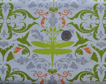 Garden of Delights dragonfly in taupe - sold by the yard